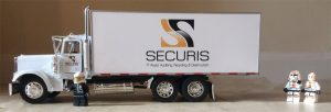 Legos and Securis box truck for IT recycling and data destruction company